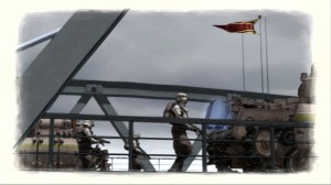 Soldiers and Tanks on the Bridge